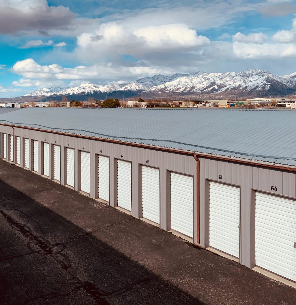 A row of outdoor storage units
